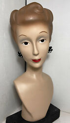 Vtg Brunette Lady Jewelry Display Head Bust Mannequin 1940s Pinup Girl Retro