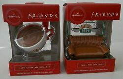Lot 2 Hallmark Red Box Friends Central Perk Cafe Couch And Coffee Cup Ornaments