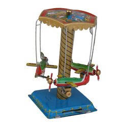 Classic Wind Up Rotating Airplane Carousel Aircraft Tin Toys For Children