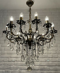 Antique Vintage 12 Arms Cast Brass And Crystals Cherub Chandelier Lighting Lamp
