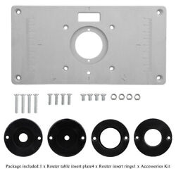 Router Table Insert Plate Woodworking Benches Trimmer Model With 4 Rings Tools