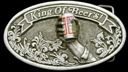 Na06126 Truly Awesome 1977 Budweiser Beer W/beer Can And Hand Buckle