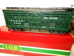 Lgb G Scale 4068 Denver And Rio Grande Green Stock Freight Car - Wth Orig Boxlook