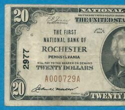 20. 1929 T-i The First N.b. Of Rochester Pennsylvania Chart. 2977