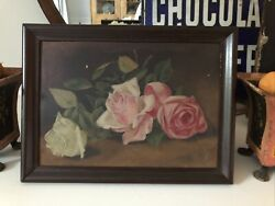 Antique Victorian Rose Oil Painting In Original Wood Frame Charming Farmhouse