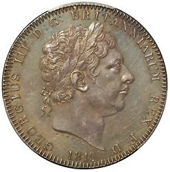 1819 Great Brtiain One Crown Lix Edge Silver Coin - Pcgs Ms 62 - Km 675 S-3787