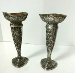 2 Silver Plate Over Brass Bud Vases Ornate Made In Japan 6