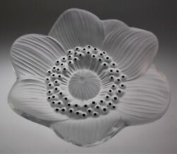 LALIQUE CRYSTAL ANEMONE FLORA FROSTED 4 1 4quot; PERFECT