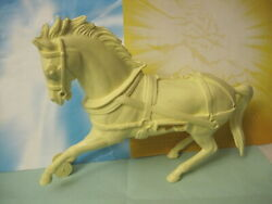 Marx 1950s Frontier Covered Wagon Train Horse 6 Inch Cream Plastic Toy Soldiers