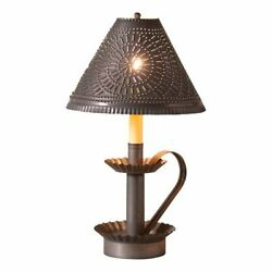 Plantation Candlestick Lamp with Tin Shade in Kettle Black Tin