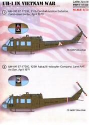 Print Scale Decals 1/72 Bell Uh-1n Huey Helicopter In The Vietnam War