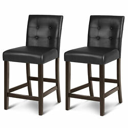 Set Of 2 Bar Stools 25inch Counter Height Barstool Pub Chair Rubber Wood Black