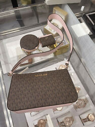 Michael Kors Crossbody with Tech Attached MK Signature Powder Blush Brown $169.99