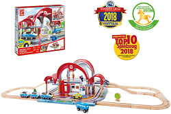 Hape Grand City Station With Light And Sound| 49 Pcs Wooden Pretend Play Railway
