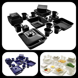 45-piece Dinnerware Set Square Banquet Microwave And Dishwasher Safe