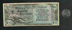 Mpc Military Payment Certificate Series 481 10 Dollar Note Fn