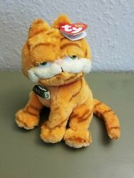 Garfield the Cat 2004 TY Plush Beanie Babies Baby w Collar Tag 7quot; B4