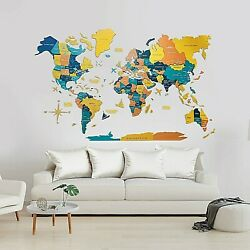 3D Wall World Map Wooden Map Decor Art Decoration Living Room Gift Travel House