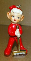 Lefton Pixie Elf With Broom 4 Tall 3296 Circa 1950's, Christmas Related