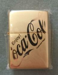 [hard To Get] Zippo Gold Oil Lighter Coca Cola Unused From Japan Fedex [mo]