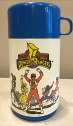 Vintage 90s Blue Aladdin Mighty Morphin Power Rangers Thermos Mug Collectable