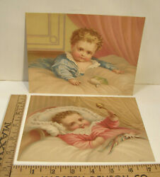 2 Antique Victorian Chromo Paper Scraps Baby W/woolly Sheep Toy And Harlequin Doll