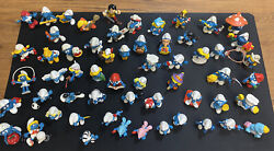 Lot Of 57 Vintage Smurfs Peyo Collectible And Rare 1970and039s And 80and039s Figures