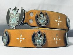 One Of The Most Unique Vintage Navajo Sterling Silver Inlay Concho Belt