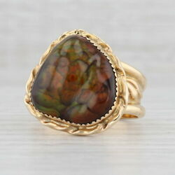 Native American Bronze Fire Agate Ring 14k Yellow Gold Size 11.75