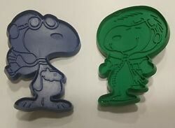 Vintage Lot Of 2 Snoopy Molded Cookie Cutters