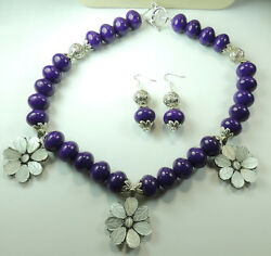 Statement Purple Jade Necklace White Cats Eye Flowers And Earring Set Wedding