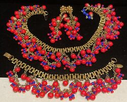 Miriam Haskell Set Vintage Gilt Red Blue Glass 3 Pc Book Chain Dangle Signed A7