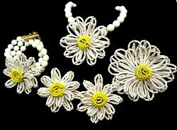 Miriam Haskell Parure Daisy Flowers Rare Vintage Signed All Glass 4 Pc Set A7