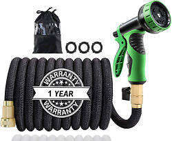 Expandable Garden Hose Strength Fabric With Brass Connectors Spray Nozzle 50ft