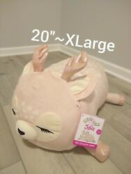 New Xlarge 20 Squishmallow Ivy Rose Gold Pink Sleepy Deer Fawn Pillow Justice