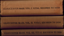 3 Vols Vital Records Of Gloucester Massachusetts To 1850 Births Deaths Marriages