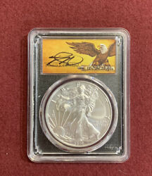 2019-w 1 Burnished Silver Eagle Pcgs Sp70 Fdoi Edition Of 10,000 Cleveland Sign