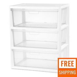 Sterilite 3 Drawer Plastic Storage Tower Containers Clear Rack Cabinet Organizer