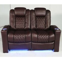 Seatcraft Stanza Bordeaux Leather Home Theater Seating Row Of 2 Sofa Power Led