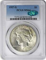 1927-s Peace Silver Dollar Ms64 Pcgs Cac