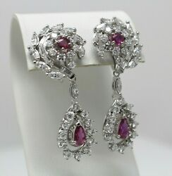 14 Kt White Gold Pair Of Ruby And Diamond Cluster Earrings With Enhancers B2238