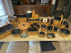 Lot Of 19 Longaberger Collectors Club Baskets With Assorted Accessories.