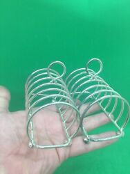 Antique Style Solid Silver Pair Of 7 Bar Toast Racks London 1972 By Harrods
