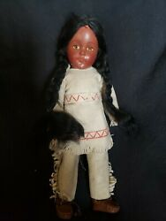 Rare 1930's Effanbee Composition Native American Indian Girl Doll 15