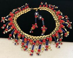 Miriam Haskell Set Necklace Earrings Red White Blue Glass Rare Vintage Signed