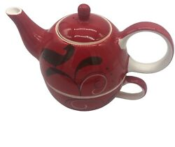 Huesnbrews Red Black Stacking Teapot Cup No Saucer Discontinued