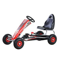 Pedal Powered Metal Go Kart Racer For Kids, Red