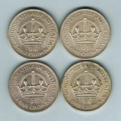 Australia. 1937 Crown X 4 Coins.. Gef-aunc - All With Much Lustre
