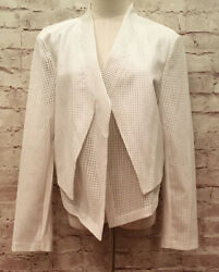 Chicos 2 Jacket Antique White Perforated Faux Leather Open Front New