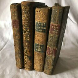 Antique French Job Lot 4 Leather Bound Religious Books Dated 1803 - 1850